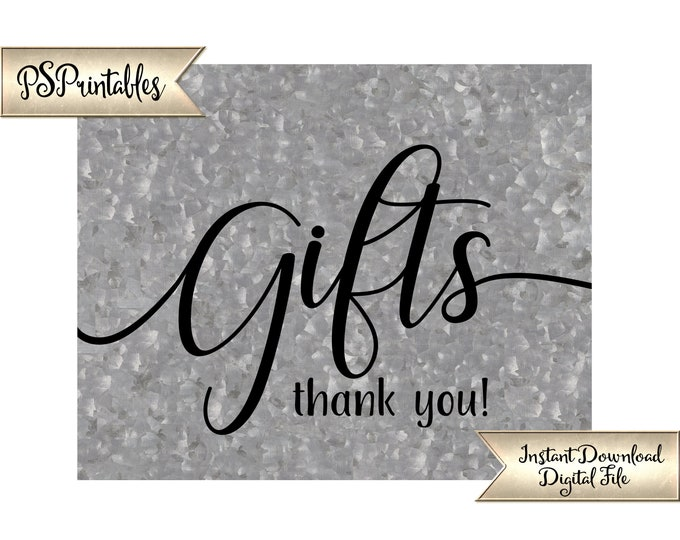 Gift Table Sign | PRINTABLE Galvanized Gifts Sign, Country Wedding Decor, Barn Wedding, Industrial Sign, Wedding Decor, Party Printables
