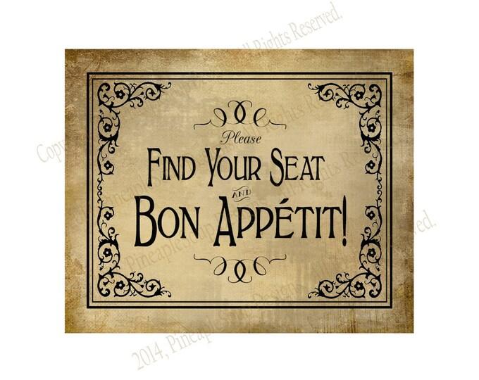 Find your seat, bon appetit vintage wedding signage - event sign - DIY instant download - Vintage Black Tie Collection