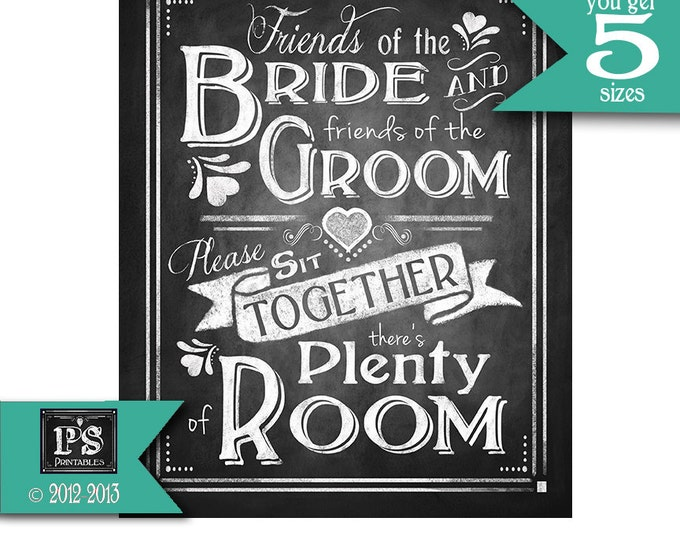 Printable Wedding Poster -  Friends of the Bride Seating Chalkboard sign - instant download digital file Rustic Collection - Wedding Signage