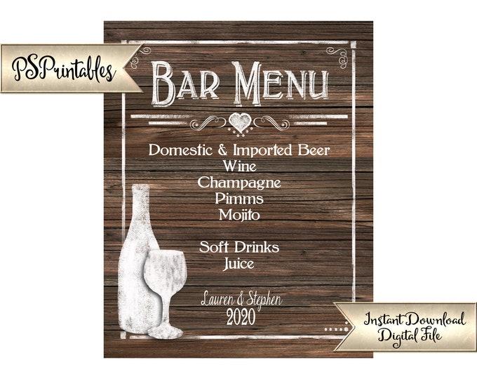 Bar Menu | PRINTABLE Wedding Bar Sign, Faux Wood Wedding Sign, Wedding Decor, Bar Decorations, Personalized Bar Signage, Party Printables