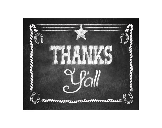 Western Themed Thanks Y'all Chalkboard Style Sign - PRINTABLE file -  DIY chalkboard poster