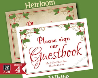 Personalize Christmas Wedding Printable Sign - Please sign our Guestbook - download digital file - DIY - Heirloom Berry Christmas Collection