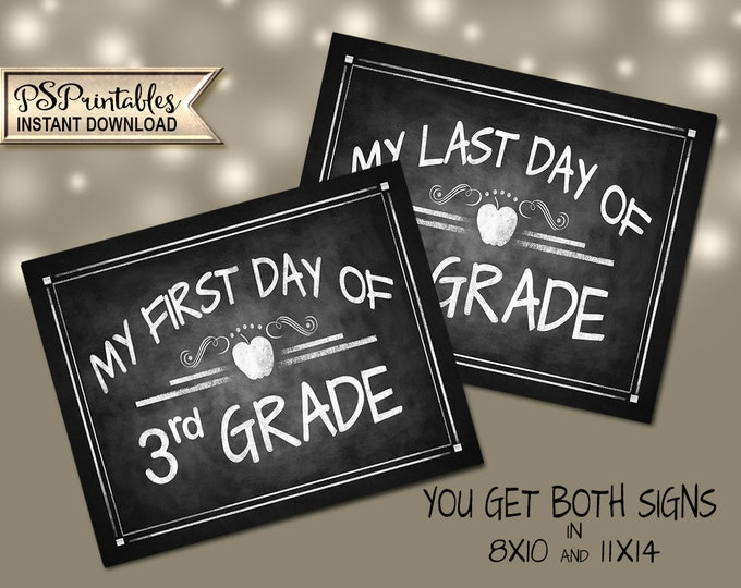 3rd Grade Photo Props | PRINTABLE 3rd Grade Signs, 3rd Grade Milestone Chalkboard Prop, First Day of School, Last Day of School, DIY School