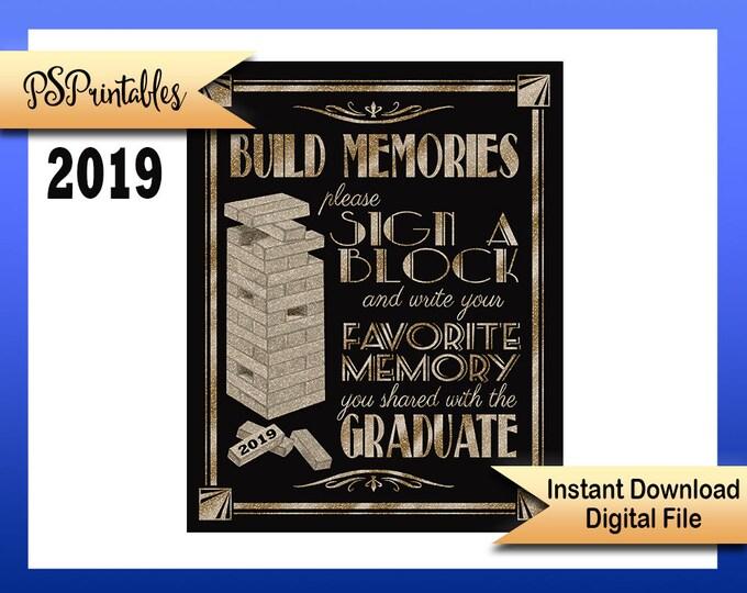 2019 Graduation sign   PRINTABLE 2019 grad sign, DIY Grad sign, graduation sign, 1920's graduation, graduation party sign, black gold sign