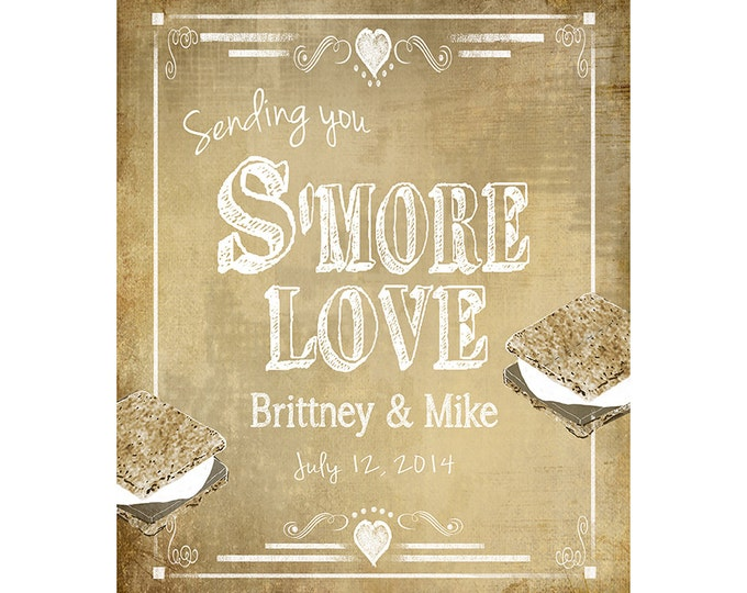 Personalized SMORE Wedding sign - Smore Love - Includes bride and groom names and wedding date - DIY Printable signage RUSH option