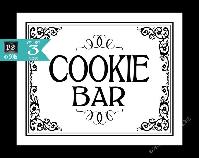 Printable Cookie Bar - Special Event sign - instant download digital file - DIY for wedding graduation retirement - Black Tie Collection
