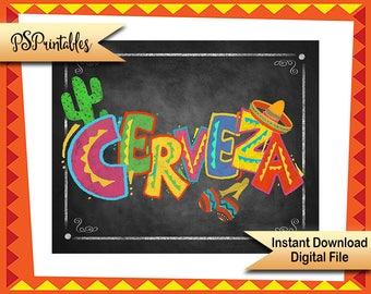 Printable Cerveza Fiesta Party chalkboard sign, mexican fiesta beer sign, Cinco De Mayo Decoration, DIY party decoration, Chalkboard sign