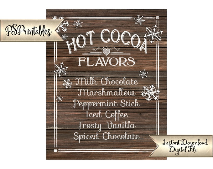 Hot Cocoa Bar Sign | PRINTABLE Hot Chocolate Sign, Faux Wood Wedding Sign, Christmas Party Sign, Winter Party Printables, DIY Party Decor