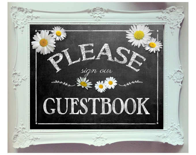 White Daisy Design Chalkboard Style - Please sign our Guestbook - INSTANTLY DOWNLOADABLE and Printable file