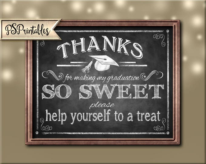 Printable Graduation Thank you Sign, Graduation is Sweet, sweets bar sign, MY Graduation sign, DIY graduation decor, chalkboard grad sign
