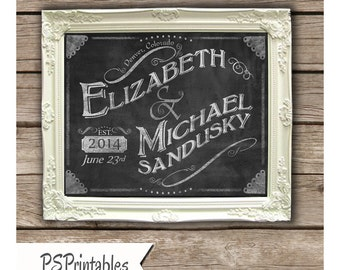 Personalized Wedding Sign/Place-mat/Keepsake - chalkboard style - Rustic collection