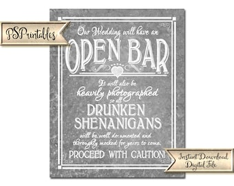 Galvanized Bar Sign | PRINTABLE wedding sign, Open bar sign, Drunken Shenanigans, Funny wedding sign, barn wedding decor, wedding decoration