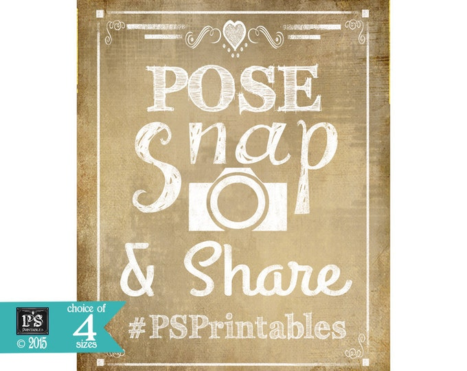 Social Media Personalized Wedding Sign - Pose, Snap & Share your hashtag on the internet - Vintage Hearts Style - PRINTABLE digital file