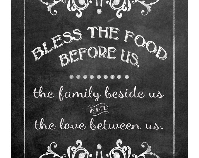 Bless The Food Before Us-Blessing wedding sign - FOUR sizes - instant download digital file - Victoria Chalkboard Collection