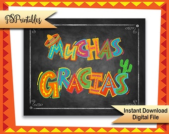 Printable Muchas Gracias Fiesta Style Party sign, chalkboard fiesta thank you sign, Birthday Fiesta Sign, wedding fiesta sign, photo props