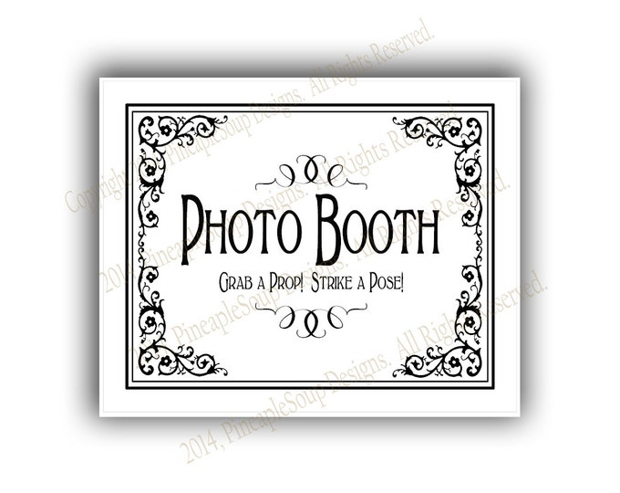 Printable Wedding PHOTO BOOTH sign - 5x7, 8x10 or 11 x 14 - instant download digital file - DIY - Black Tie Collection - traditional
