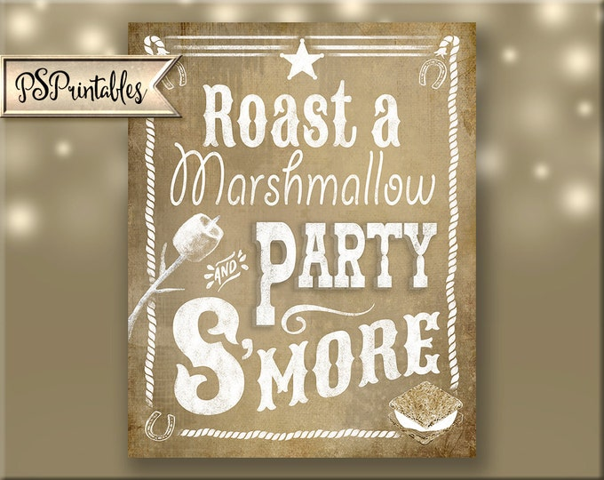 Western S'more Sgin for Wedding or party sign  - VINTAGE Style - diy Printable - instant download - Western Roast a Marshmallow Smore Sign