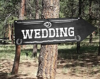 Western Wedding DIRECTIONAL signs - Chalkboard Style - PRINTABLE file - diy Western Wedding or event signage