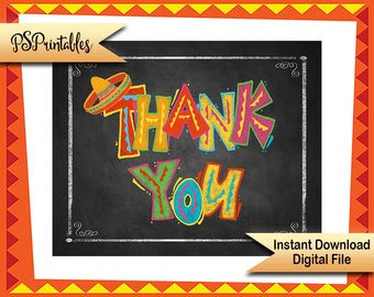 Printable Thank You Fiesta Style Party sign, Fiesta Thank you Card, Birthday Fiesta Signage, Fiesta wedding, Graduation Thank you photo prop