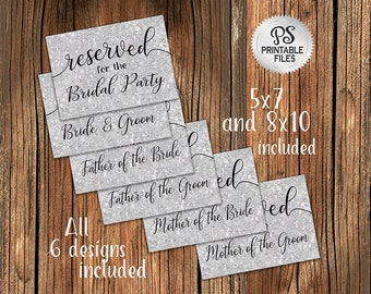 Wedding Reserved Sign Set of 6 | PRINTABLE Galvanized Reserved signs, Country Wedding, Digitial Galvanized Wedding signage, Wedding Decor