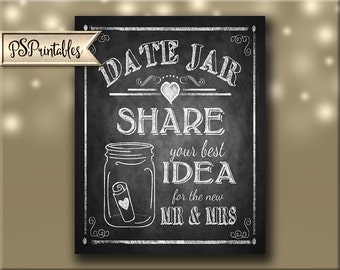Date Jar Wedding Guestbook Alternative, Share and Date Idea with the Mr. & Mrs. PRINTABLE download digital file - Rustic Heart Collection