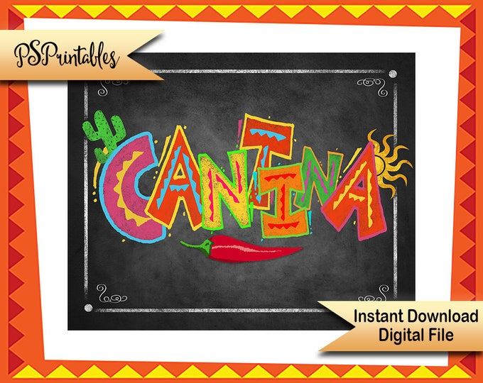 Printable Fiesta Cantina sign, birthday fiesta sign, printable wedding sign, wedding fiesta, graduation fiesta, mexican party decoration
