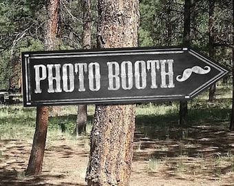 Western Themed PHOTO BOOTH DIRECTIONAL signs - Chalkboard Style - printable file - diy Western Wedding or event signage