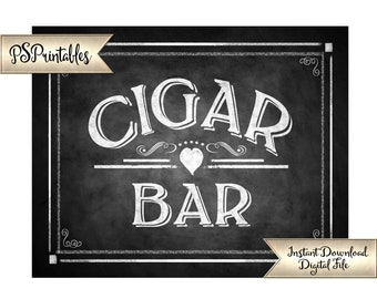 Cigar Bar Sign | PRINTABLE Wedding Signage, Wedding Cigars, DIY Chalkboard Wedding Signs, Wedding Printables, Wedding Decor, Rustic Wedding
