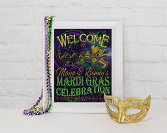 Mardi Gras Party Welcome Sign, Personalized Welcome SIgn, Mardi Gras Party Decoration, Mardi Gras, Party Decorations, Masquerade Party