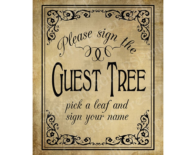 PRINTABLE Guest Tree Wedding sign - Please sign our guestbook - Vintage Black Tie design