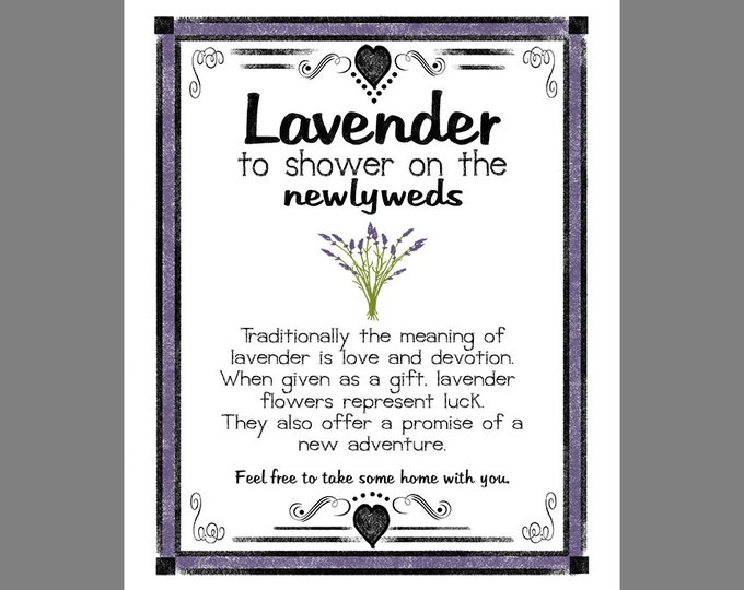 Lavender Toss Wedding Sign - Reservse Chalkboard Style with color accents and black lettering - download digital file