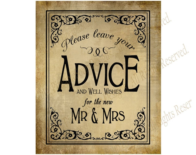 Printable Wedding ADVICE sign - 5x7, 8x10 or 11 x 14 - instant download digital file - DIY - Vintage Black Tie Collection
