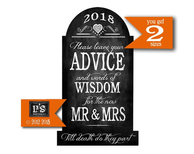 Halloween Wedding Sign | PRINTABLE Halloween Sign with Gravestone theme - Advice for the new Mr. & Mrs.