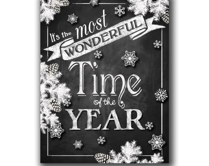 It's the Most Wonderful Time of the Year Chalkboard Christmas sign - Holiday decoration