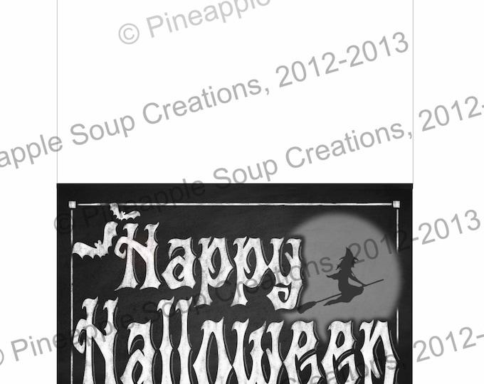 PRINTABLE Halloween Greeting Card | Chalkboard Happy Halloween Digital Download Card