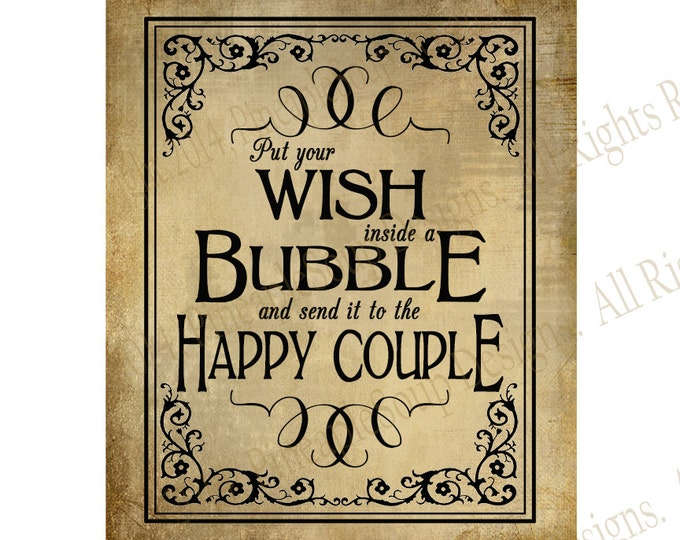 PRINTABLE Bubble Send off DIY Wedding sign - immediately available via download - Vintage Black Tie Collection - Wedding Signage