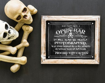 Halloween Party Sign | PRINTABLE Open Bar Drunken Shenanigans Halloween Party BAR Sign, Halloween open bar, halloween bar sign, BAR