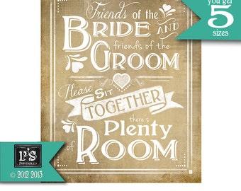 Wedding Poster Friends of the Bride Printable Seating Vintage sign - instant download digital file, Vintage Heart Collection - Signage