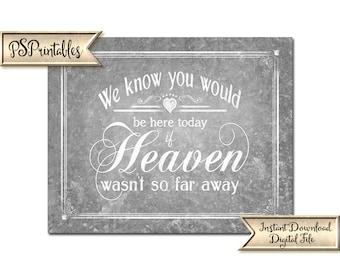 Memorial Wedding Sign | PRINTABLE Wedding sign, Galvanized Wedding signage, Country wedding signs, DIY Printable, Rustic Wedding Signage