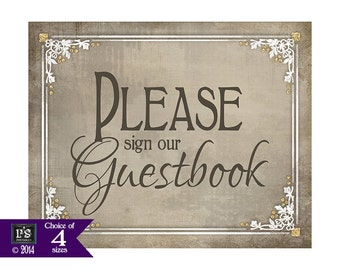 Sign our Guestbook Printable Wedding Sign- taupe, cream, white color - Instant Download - 5x7, 8x10, 11x14, 16x20 - Old Lace Collection