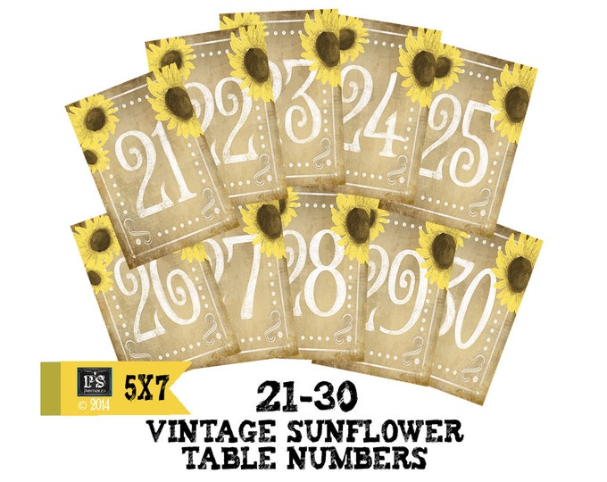 DIY Printable Table numbers for your rustic wedding #21-30 - vintage sunflower 5x7 size - instant download