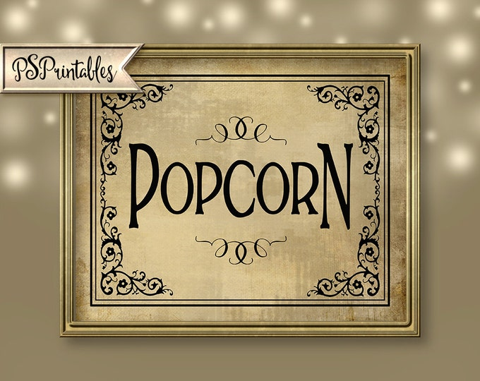 Popcorn Bar Wedding Sign - Popcorn - You get ALL three sizes for one price - DIY instant download - Vintage Black Tie Collection