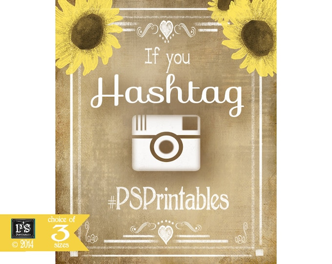 Social Media Hashtag Wedding Sign - Vintage Sunflower Style - instant download digital file - Vintage Sunflower Collection