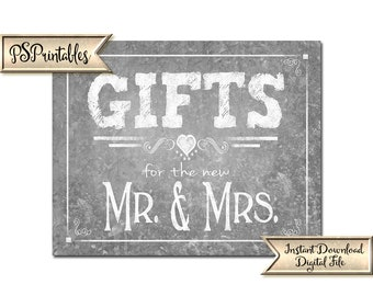 Galvanized Tin Wedding Gifts Sign | PRINTABLE Wedding sign, Gifts for the new Mr & Mrs, Printable Wedding, Rustic wedding decor, DIY Sign