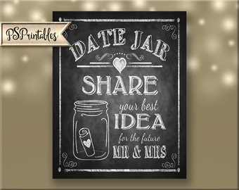 Date Jar Engagement Guestbook Alternative, Share a Date Idea with the FUTURE Mr. & Mrs. PRINTABLE download file - Rustic Heart Collection