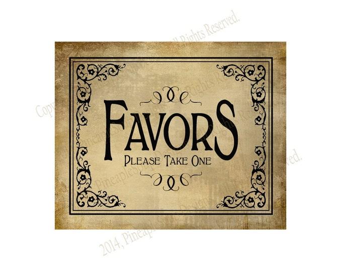 Printable Wedding FAVORS sign - 4x6, 5x7, 8x10 or 11 x 14 - instant download digital file - DIY - Vintage Black Tie Collection