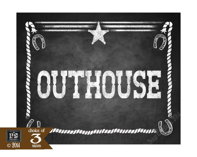Western Themed Bathroom Outhouse signs - Chalkboard Style - PRINTABLE file  DIY Western Wedding or party  signage