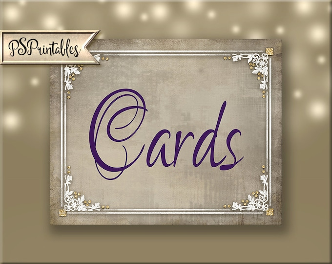 Printable Wedding Sign for your Cards table or box - Cards in purple plum, cream and white Instant Download - 3 sizes - Old Lace Collection
