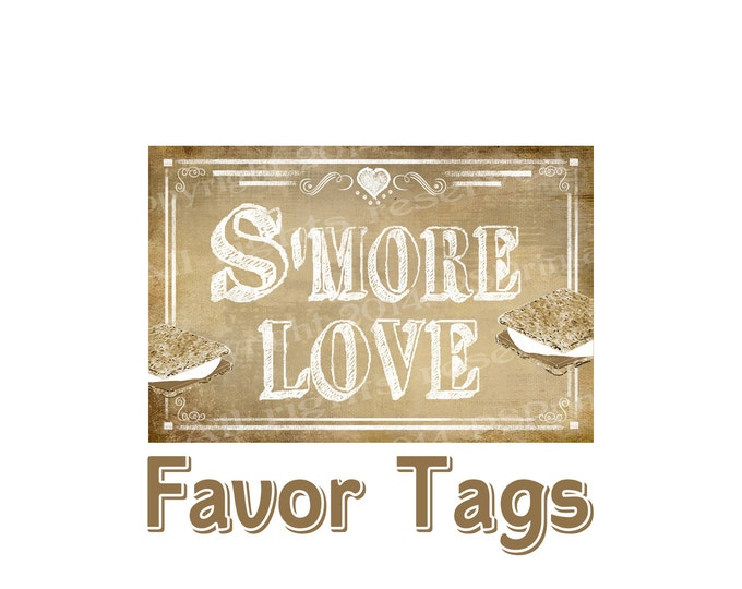 SMORE Wedding tags -  S'More Love - Vintage Heart Collection - DIY PRINTABLE signage