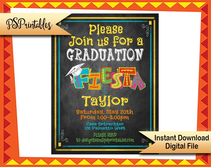 Printable Fiesta Graduation Party invitation, graduation chalkboard invitation, graduation fiesta graduation, class of 2017, grad invitation